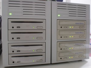 An array of DVD and CD-ROM drives