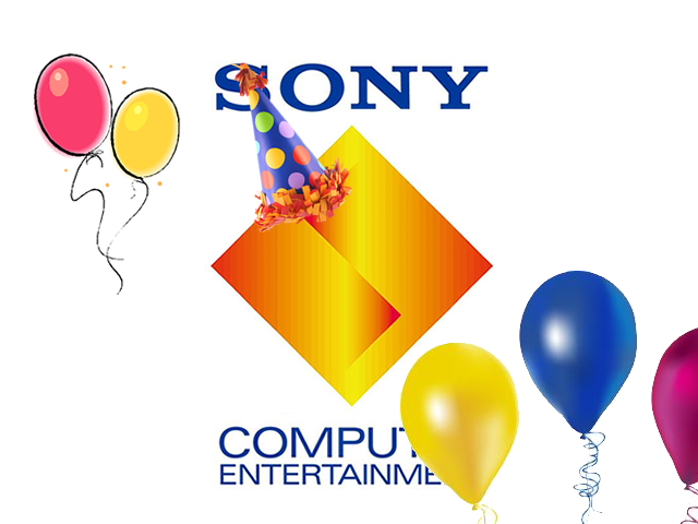 Sony Computer Entertainment logo wearing a birthday party hat next to balloons