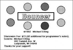 Title screen from Bouncer