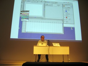 Rhizome archivist Dragan Espenchied shows off Macromedia Director 8.5 running on Mac OS Classic – all streamed over the Internet