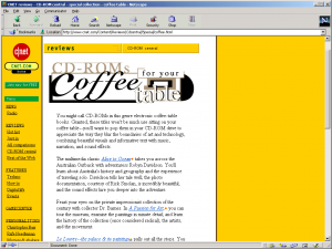 "Screen capture of CNET's CD-ROM Central page ""CD-ROMs for Your Coffee Table"""
