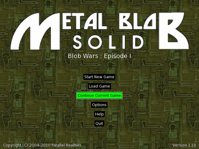 Title screen from Blob Wars: Metal Blob Solid