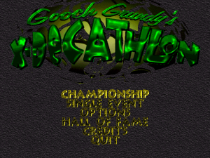 Title screen from Gooch Grundy's X-Decathlon