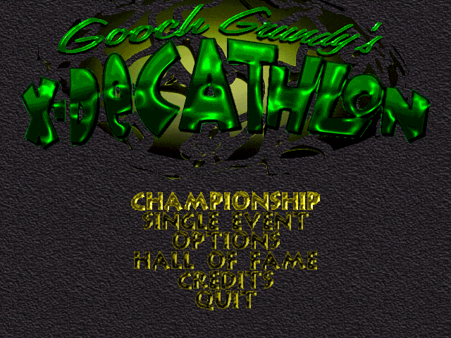 Title screen from Gooch Grundy's X-Decathlon