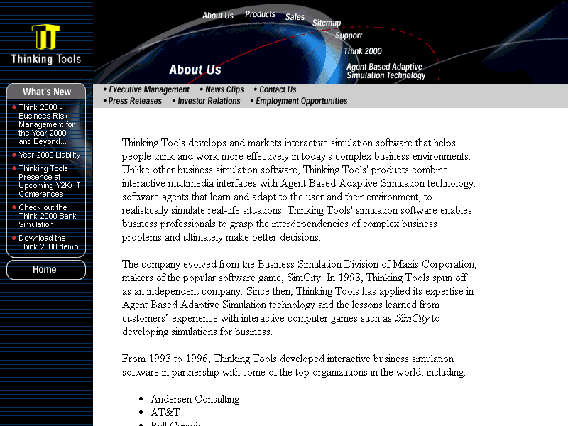 "Screen capture of the Thinking Tools website's ""About"" page"