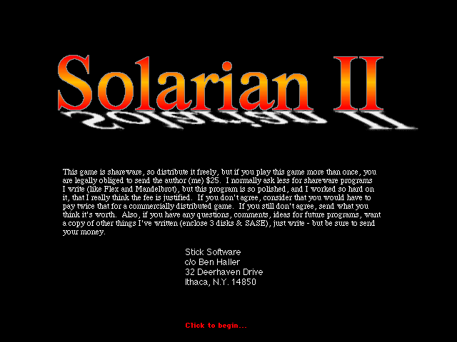 Title screen from Solarian II
