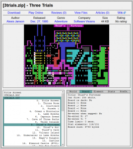 Screen capture of Three Trials from the Museum of ZZT