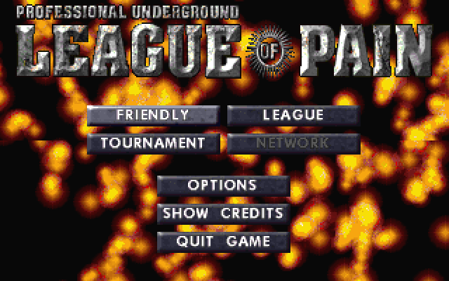 Title screen from Professional Underground League of Pain