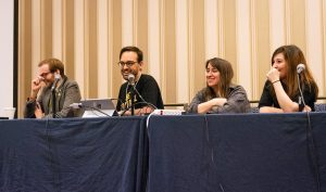 "The panelists for ""True Weird Stories from Video Game History"" at Super MAGFest 2019. (from left to right) Me, Frank Cifaldi, Rachel Simone Weil, Kelsey Lewin. Photo credit: AtariSpot"