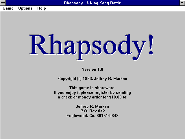 Title screen from Rhapsody! A King Kong Battle