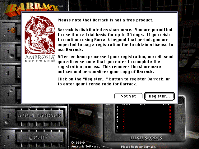 Registration reminder screen from Barrack