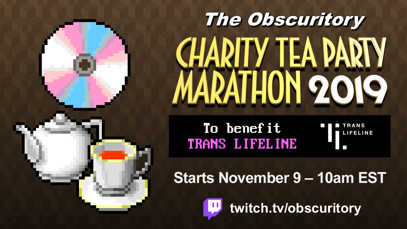 The Obscuritory Charity Tea Party Marathon 2019 banner