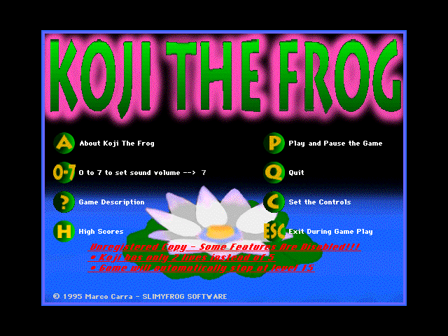Title screen from Koji the Frog