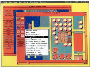 One of the few surviving screenshots of SimRefinery. The screenshot depicts a top-down view of an oil refinery with a pop-up menu listing various components of the plant. The colors in the screenshot appear to be glitched or incorrect.