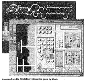 "One of the other few surviving screenshots of SimRefinery. The screenshot is black-and-white and depicts a top-down view of an oil refinery. Caption: ""A screen from the SimRefinery simulation game by Maxis."""