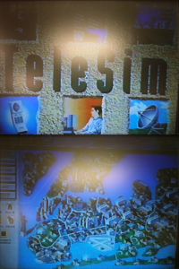 Two screenshots from TeleSim. The top picture shows the title screen with various stock illustrations of telecommunications and business. The bottom picture is a map of New York City, drawn from an isometric perspective in the style of a game like SimCity 2000. These are photos taken of a TV playing a VHS recording of a projector screen, so the quality is marginal.