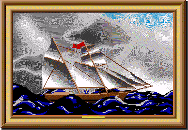 A painting of a sailboat riding through a storm from Project Challenge.