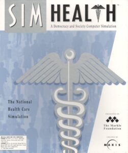 "The pre-release box art for SimHealth. The box art is a blue-silver color, with a large drawing of a caduceus superimposed over a crowd people. The game's subtitle is ""A Democracy and Society Computer Simulation."""