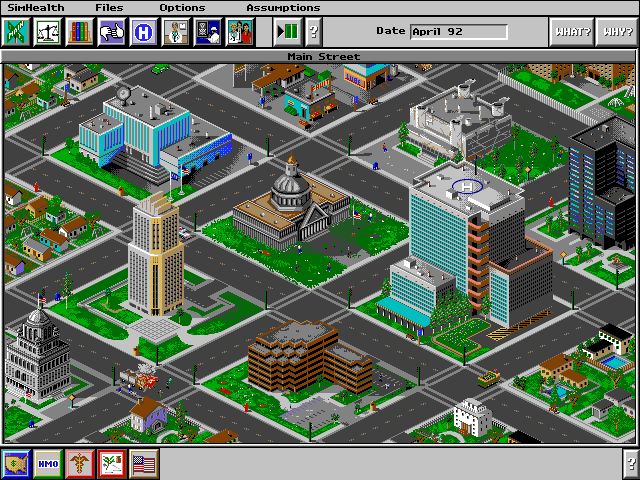 Main Street from SimHealth is a downtown district with a city hall, office and governmental buildings, a police department, a hospital, and industrial research facility, and a few houses.