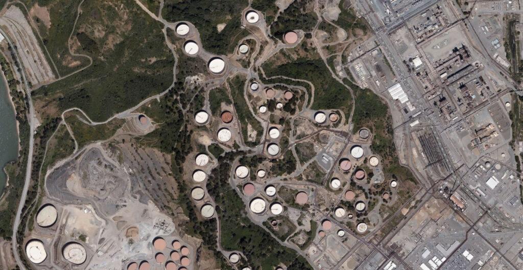 Satellite view of the Chevron Richmond Refinery. Via Microsoft Maps, copyright Vexcel Imaging.