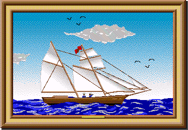 A painting of a sailboat in the water on a clear day from Project Challenge.