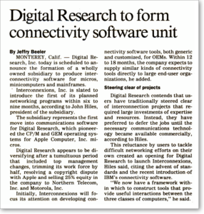 "An article from Computerworld titled ""Digital Research to form connectivity software unit."""