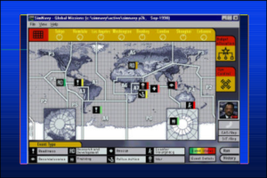 A low-resolution screenshot of SimNavy, developed at the Naval Postgraduate Academy.