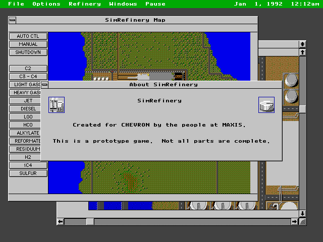 """About SimRefinery"" screen. The screen says ""SimRefinery. Created for Chevron by the people at Maxis. This is a prototype game. Not all parts are complete."""