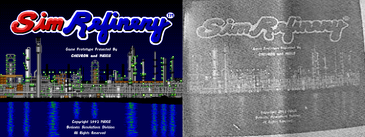 "Comparison of a screenshot from SimRefinery from 1992 and a photo of SimRefinery from the San Francisco Chronicle from 1993. The words ""Game Prototype Presented By"" are barely legible in the newspaper photo."