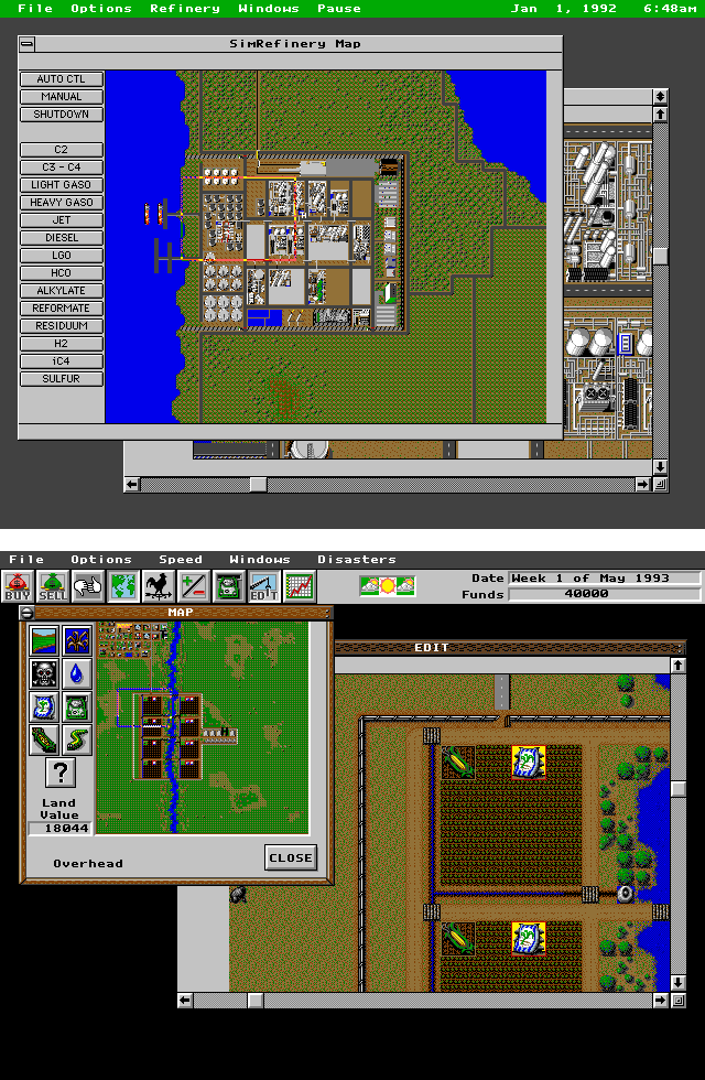 A screenshot of SimRefinery and a screenshot of SimFarm. The interfaces are very similar and share the same general shape and fonts.