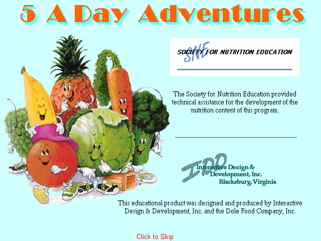 Introduction screen from 5 A Day Adventures
