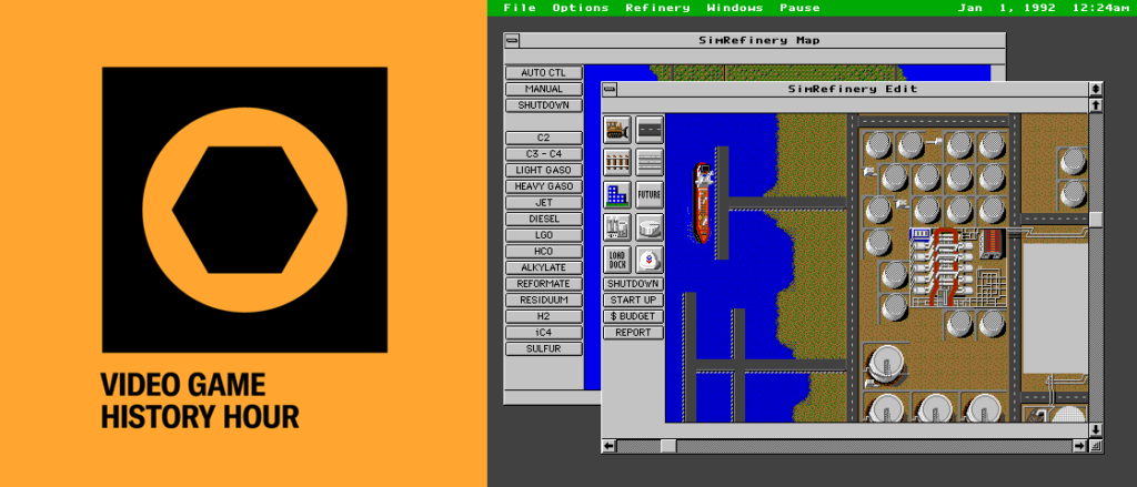 Video Game History Hour logo and screenshot from SimRefinery