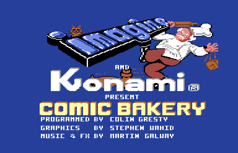 Title screen from Comic Bakery. A chef has just dropped a loaf of bread and is angrily chasing a raccoon.