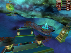 A wooden roller coaster in outer space about to hit an incline going down. In the distance, there's an airship, a clock tower, and a glowing glass pyramid. The space sky has vibrant green and blue colors, like a nebula.