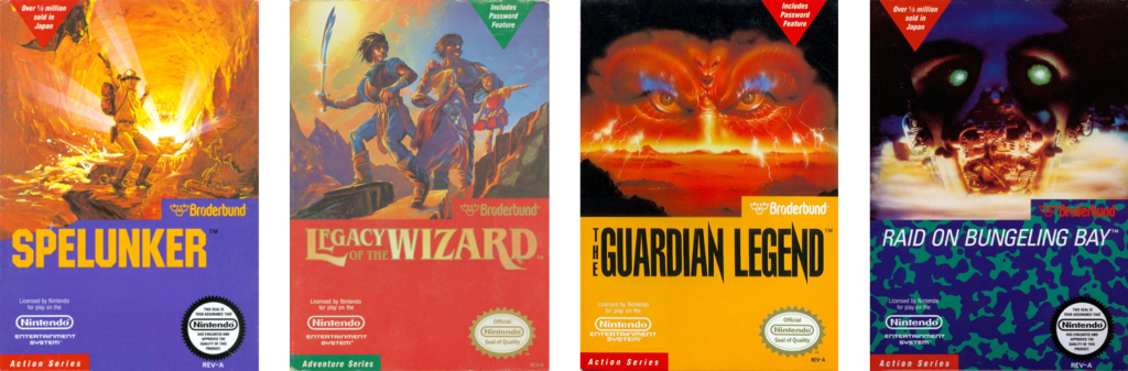 From left to right: the boxes for Spelunker, Legacy of the Wizard, The Guardian Legend, and Raid on Bungeling Bay. Each box art design features a cover art illustration partially covered up with a cut-out shape that includes the Broderbund logo, the game's title, and the Nintendo Seal of approval. Each box has a different accent color (from left to right: purple, red, yellow, and camo texture).