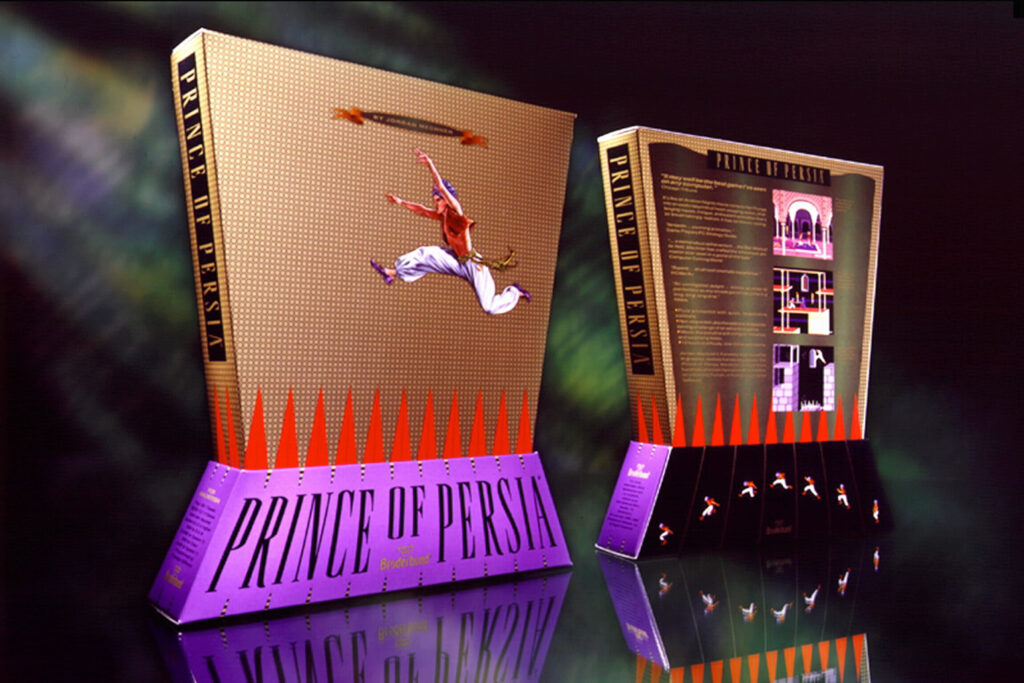 The box for Prince of Persia consists of two trapezoids stack on top of each other. The top trapezoid, narrowing as goes down, shows the hero of Prince of Persia leaping over a spike pit. The bottom trapezoid, widening as it goes down, displays the name of the game.