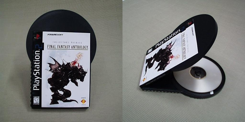 A prototype design for PlayStation 2 disc packaging. It's a small rectangular box with a large DVD-shaped compartment sticking out, as if it's breaking out of the undersized case. The box uses a modified version of the cover for the PlayStation 1 game Final Fantasy Anthology with a 2 from the PlayStation 2 logo pasted on top.