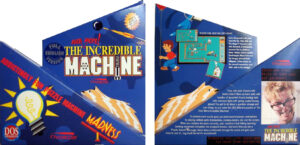 The front and back of the box for The Even More! Incredible Machine. The box has a complicated layout with multiple intersecting blue triangles. The front of the box has a drawing of a cat. The back of the box features a picture of an eccentric-looking mad scientist named Kevin.