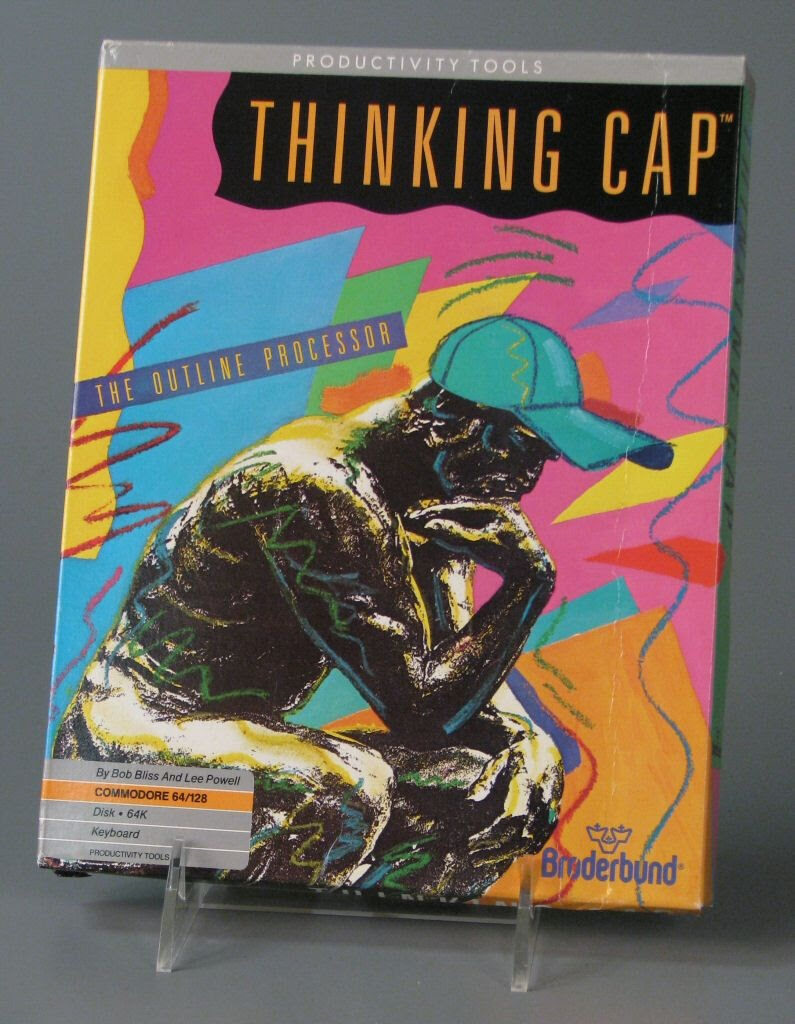 The box for Thinking Cap: The Outline Processor. The cover art depicts the statue The Thinker, surrounded by colorful shapes and squiggly lines that look like they were drawn with crayon. The Thinker is also wearing a cap that looks like it was drawn on top.