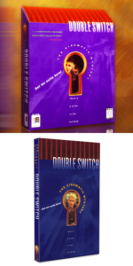 Left: the original box for Double Switch. There is a large keyhole in the front with an image placed a small distance behind it. The top of the box is sloped downward. Right: the 2019 re-release collector's edition package for Double Switch. It is a small, thin case typically used for Nintendo Switch games but with additional 3D relief elements matching the keyhole design of the original.