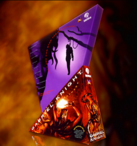 The consists of two triangular pieces. The bottom half contains violent demonic imagery in a red hue; the top half, an inverted triangle, features a silhouette of a man being hanged against a purple backdrop.