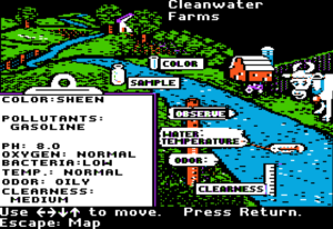 Screenshot from Cleanwater Detectives. The player is testing water in the river outside Cleanwater Farms. The water is oily and has a sheen, and it's contaminated with gasoline.