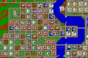 Screenshot from SimCity. A river runs through a large city with a marina and a stadium.