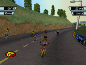 Screenshot from 3Xtreme. Six racers, including a combination of BMX riders, roller skaters, and skateboarders, are riding down a curving seaside road at early sunset.