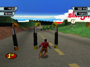 Screenshot from 3Xtreme. A rollerblader weaves through a group of slalom gates, one yellow and one orange. More slalom gates wait further down the hill on the opposite side of the road.