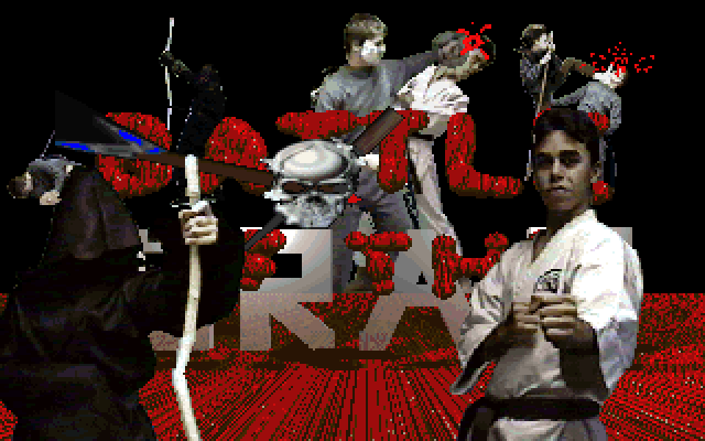 Title screen for Battle of the Eras, depicting a bunch of kids fighting each other in various costumes inspired by fantasy and martial arts.