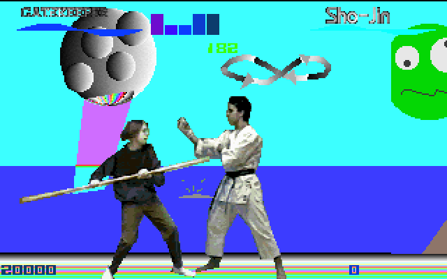 Screenshot from Battle of the Eras, showing a fight between Gatekeeper and Sho-Jin. The characters are depicted as low-resolution, live-action graphics. Gatekeeper is lunging forward with a long staff, apparently yelling. Sho-Jin wears a karate uniform and has his hands up in a combat pose. The background is a random mishmash of shapes and colors, including a weird face in the sky.