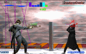 Screenshot from Battle of the Eras. XLX-2250 is fighting ShadowSnake in a futuristic factory stage. ShadowSnake blocks a laser attack from XLX-2250's gun, which is clearly a Super Soaker.