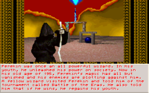 """Screenshot from Battle of the Eras. This is the selection screen for the character Ferekin, a cloaked wizard, standing in front of a weird 3D backdrop with the word """"BERAS"""" repeated in the background. Ferekin's description says: """"Ferekin was once an all powerful wizard. In his youth, he unleashed his power on society. Now in his old age of 195, Ferekin's magic has all but vanished and his enemies are plotting against him. A fellow wizard visited Ferekin and told him of the tournament callde Battle of the Eras. He also told him that if he wins, he regains his youth."""""""